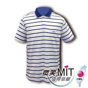 【微笑MIT】CHIAMEI/佳美-吸濕排汗紗針織POLO杉 男款V301108(藍色條紋)