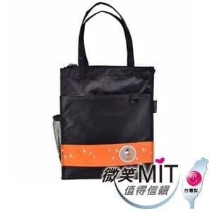 【微笑MIT】Caution可欣/晟旭-螢火蟲系列之直式手提袋 CT10321-7(黑/橘)