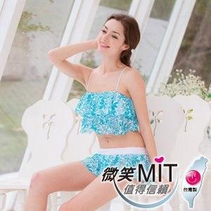 【微笑MIT】3apples/綠璟鴻-大女泳裝三件式裙裝 A4LA113(藍白花色)