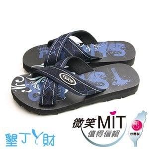 【微笑MIT】墾丁ㄚ財/上比-X耳原民圖騰人字拖(藍/黑)