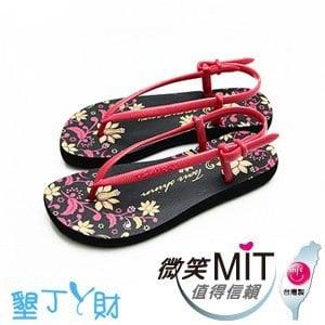 【微笑MIT】墾丁ㄚ財/上比-蔓藤花橡膠涼鞋(桃/黑)