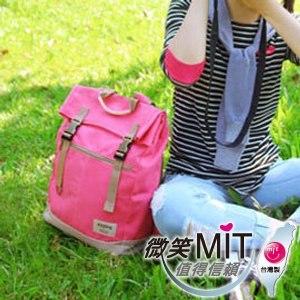 【微笑MIT】KOPER【不平帆】復古雙釦帆布後背包 11052A-08(桃氣紅)