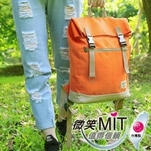 【微笑MIT】KOPER【不平帆】復古雙釦帆布後背包 11052A-04(焦糖橘)