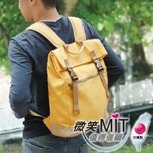 【微笑MIT】KOPER【不平帆】復古雙釦帆布後背包 11052A-05(陽光黃)