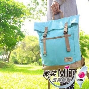 【微笑MIT】KOPER【不平帆】復古雙釦帆布後背包 11052A-07(薄荷藍)