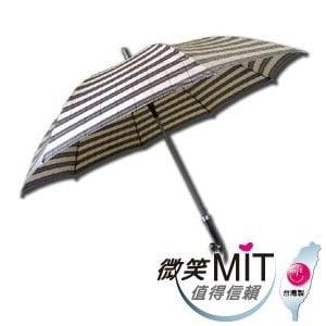 【微笑MIT】張萬春/張萬春洋傘-27直立防風紳士傘 AT1016(卡其黑格紋)