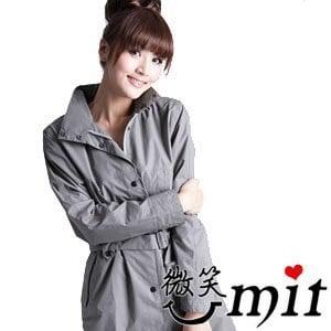 【微笑MIT】BrightDay/暉晉-風雨衣連身式 立領排釦大衣款(橄欖灰)★贈雨鞋套