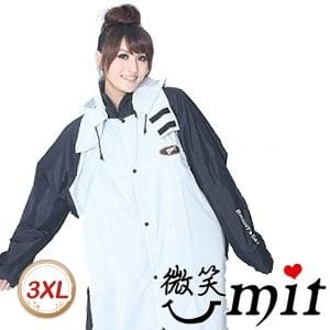 【微笑MIT】BrightDay/暉晉-風雨衣連身式 蜜絲絨前開款(灰黑)-3XL
