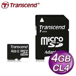 Transcend 創見 4G MicroSDHC卡(CL4)附轉卡