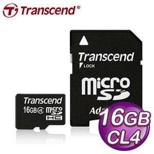 Transcend 創見 16G MicroSDHC(CL4) 附轉卡