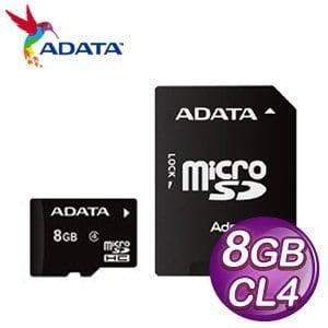 ADATA 威剛 8G MicroSDHC(CL4) 附轉卡