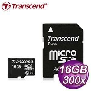 Transcend 創見 16G MicroSDHC Class 10 UHS-I 400x 記憶卡 - 附轉卡