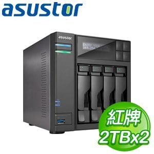 ASUSTOR華芸 AS-604T 4Bay NAS+WD 紅標 2TB 二顆(WD20EFRX)