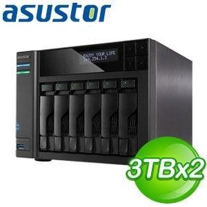 ASUSTOR華芸 AS-606T 6Bay NAS+東芝 3TB 二顆(DT01ACA300)
