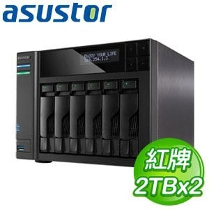 ASUSTOR華芸 AS-606T 6Bay NAS+WD 紅標 2TB 二顆(WD20EFRX)