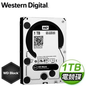 WD 威騰 1TB 3.5吋 7200轉 64MB快取 SATA3黑標電競硬碟(WD1003FZEX)