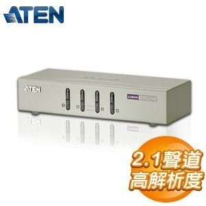 ATEN KVM 1:4U鐵含線 4埠 USB KVM多電腦切換器  CS74U