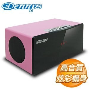 Dennys USB SD FM炫彩木質行動喇叭~粉~U~6020P