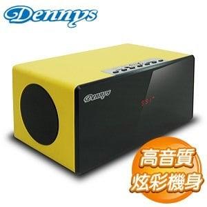 Dennys USB SD FM炫彩木質行動喇叭~黃~U~6020Y