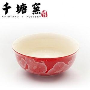【微笑MIT】千塘窯/台灣京瓷-釉之花絮 情人對碗 2碗+2筷(紅)