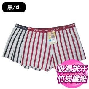 【SKIP四季織】吸濕排汗直條四角褲(黑/XL)