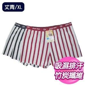 【SKIP四季織】吸濕排汗直條四角褲(丈青/XL)