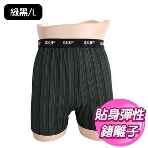 【SKIP四季織】鍺離子男款四角褲加長版(綠黑/L)