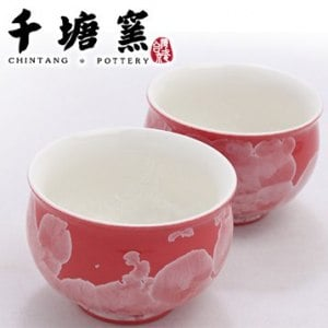 【千塘窯】千塘圓福杯 2入(紅)
