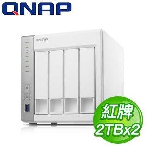QNAP 威聯通 TS-431+ Turbo 4TB NAS 網路儲存伺服器(WD20EFRX*2)