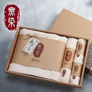 洽維無染經典毛巾禮盒(經典浴巾x1+經典毛巾x1+經典方巾x2)