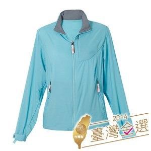 LeVon 女款收納式抗UV連帽單層風衣-湖水藍(LV3218-XL)