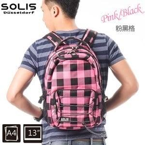 SOLIS〔方塊幻想系列〕抽繩款電腦後背包 B05009-小《粉黑格》