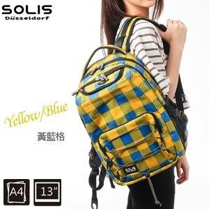 SOLIS〔方塊幻想系列〕抽繩款電腦後背包 B05011-小《黃藍格》