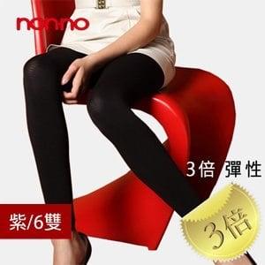 【微笑MIT】non-no/台灣儂儂-三倍彈性厚九分褲襪 7539(6雙/紫)
