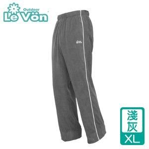 LeVon 男款雙刷毛保暖長褲-淺灰XL(LV2113-XL)