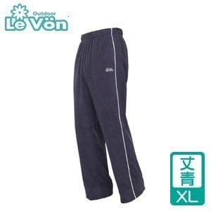 LeVon 男款雙刷毛保暖長褲-丈青XL(LV2115-XL)