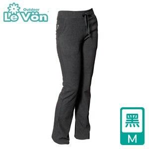 LeVon 女款雙刷毛保暖長褲-黑M(LV2116-M)