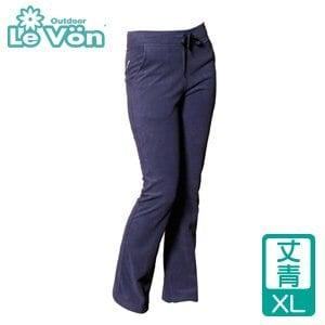 LeVon 女款雙刷毛保暖長褲-丈青XL(LV2118-XL)