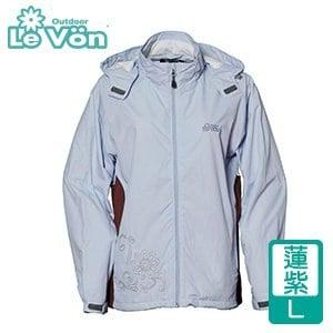 LeVon 女款防風潑水天鵝絨外套-蓮紫L(LV3181-L)