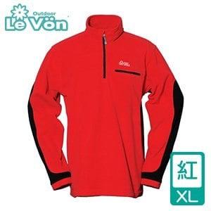 LeVon 男款雙刷毛輕柔保暖上衣-紅XL(LV8121-XL)