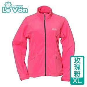 LeVon 女款雙刷毛保暖夾克-玫瑰粉XL(LV3192-XL)