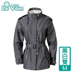 LeVon 女款防風潑水天鵝絨外套~黑白雙M LV3225~M