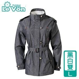 LeVon 女款防風潑水天鵝絨外套~黑白雙L LV3225~L