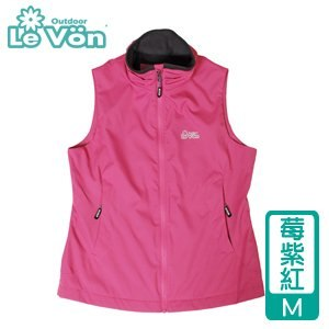 LeVon 女款防潑水輕柔保暖背心-莓紫紅M(LV5332-M)