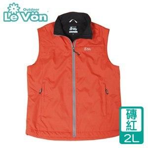 LeVon 男款防潑水輕柔保暖背心-磚紅2L(LV5337-2L)
