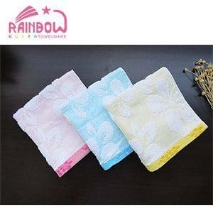 RAINBOW 扶桑花紗布提花方巾(3入)