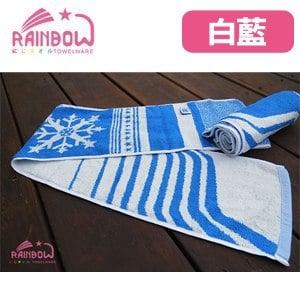RAINBOW 冰巾雪花紋運動毛巾-藍白(穿掛式)
