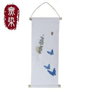 無染 藍染蝴蝶掛軸-長(25x55cm)