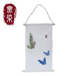 無染 藍染蝴蝶掛軸-短(25x37cm)