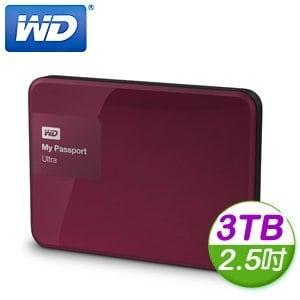 WD 威騰 New My Passport Ultra 3TB 2.5吋 USB3.0 外接式硬碟《野莓紅》